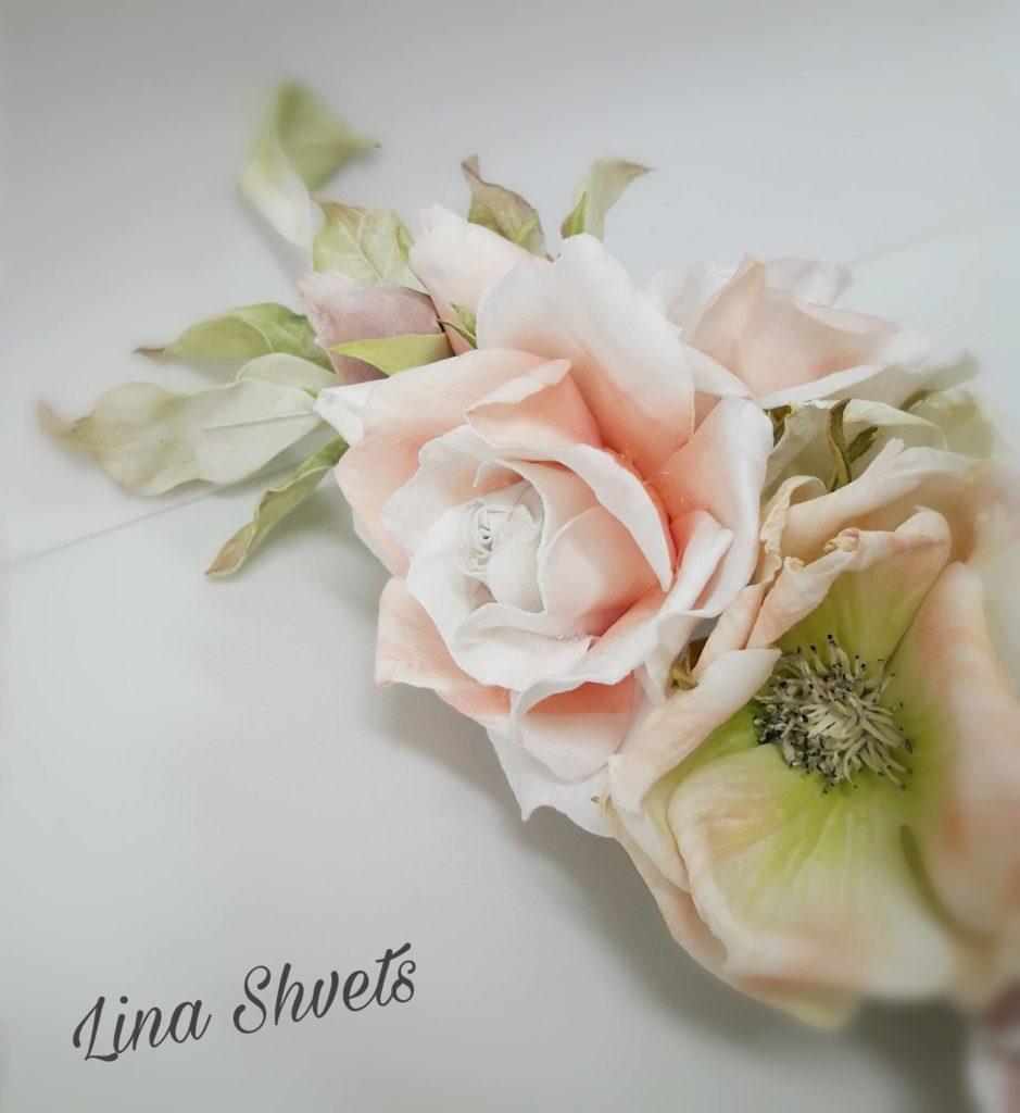 Lina Shvets – KLATKA Z KWIATAMI (foamiran)
