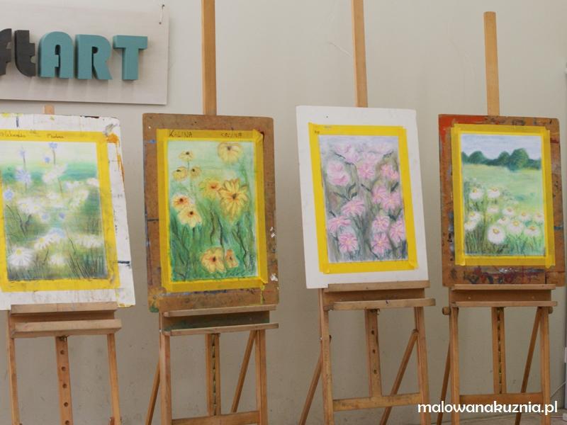 Łąka pełna kwiatów - rodzinne warsztaty malowania suchymi pastelami w Malowanej Kuźni