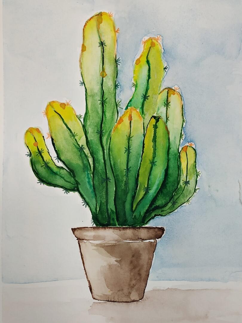 Praca ucznia. Ilustracja akwarelowa Kaktus I