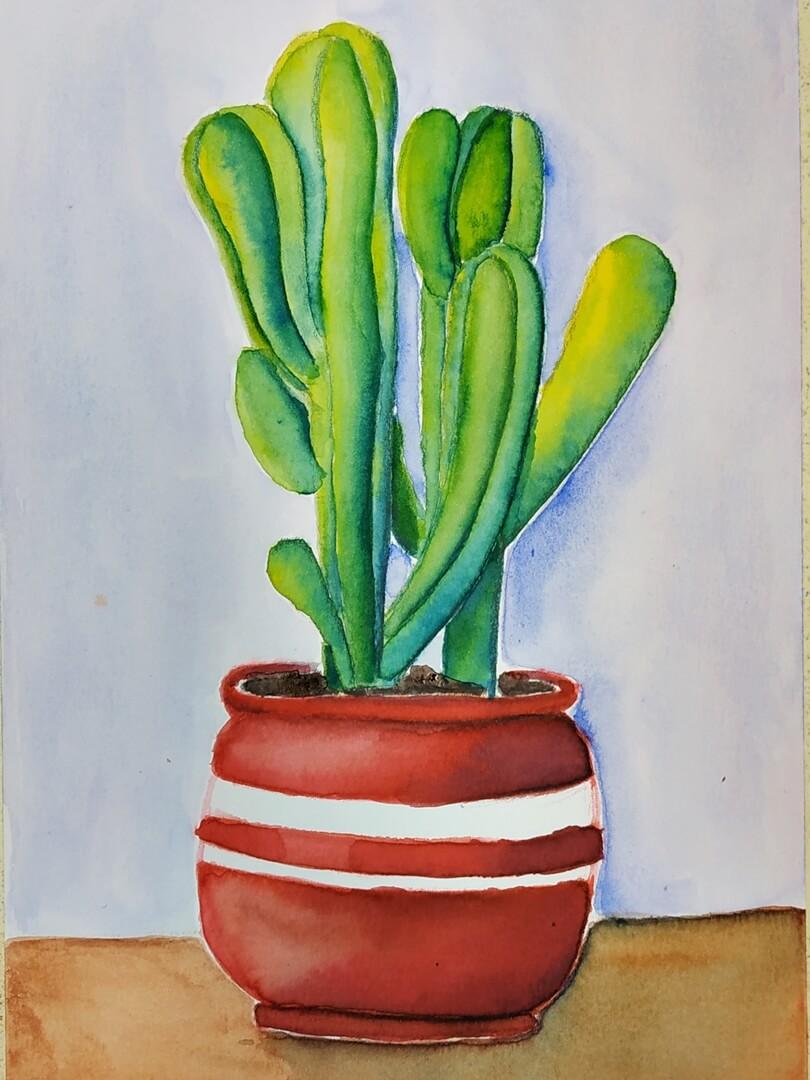 Praca ucznia. Ilustracja akwarelowa Kaktus III